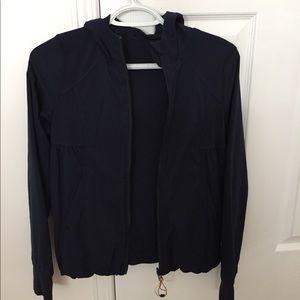 Navy blue reversible athletic jacket